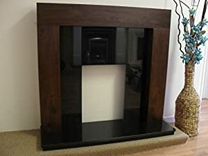 """Gas or Electric Mango Walnut Brown Mantel Surround Black Granite Modern Traditional Fire Fireplace Suite 48"""""""