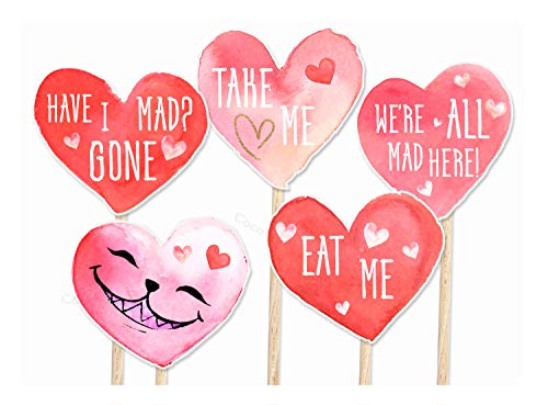 Coco&Bo - 10 x Alice im Wunderland Cupcake Picks - Essen Sie Mich Trinken Mich Mad Hatters Tea Party Kuchen Dekorationen