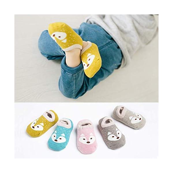 TOPOFU 5 Pares Calcetines Antideslizantes para Bebé Niños Infantil Niños Niñas Algodón Calentar Lindo Zorro Calcetines… 1