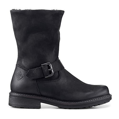 Cox Damen Damen Winter-Boots aus Leder, Stiefelette in Schwarz mit warmem Innenfutter schwarz Leder 40