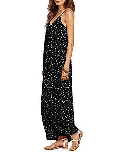 Cystyle Damen Sommerkleid lange V-Ausschnitt Swing Maxi Oversize Party Strandkleid Stil 8