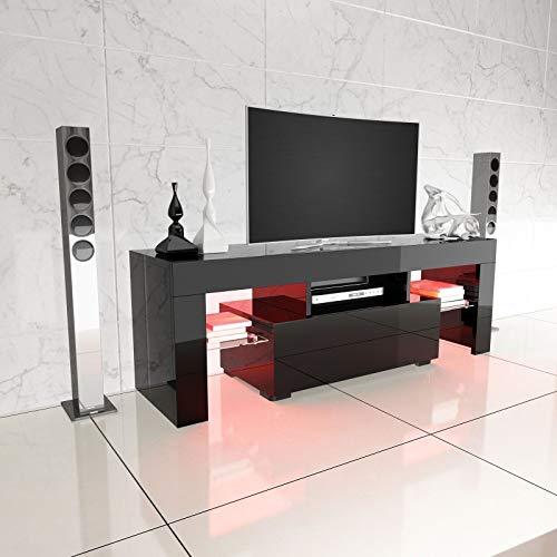 Mueble LED RGB de Alto Brillo, Mesa E, Color Negro, Moderno, para...