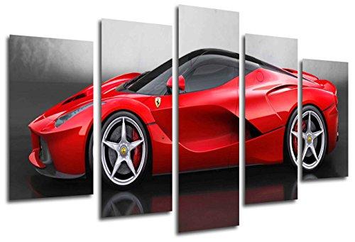 Scatola per stampe artistiche in legno con cornice da appendere alla parete - auto ferrari rossa (dimensioni totali: 165 x 61 cm) - incorniciata e pronta da appendere - ref. 26330