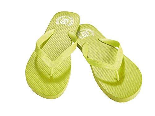 2x Zehentrenner Strandpantoletten Pantoletten Strand Bade Badelatschen Damen und Herren Unisex Farbe und Größe Wählbar Gelbgrün