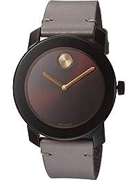 148dfea015ee Movado Reloj de Hombre Cuarzo analógico Correa de Cuero Caja de Acero  3600455