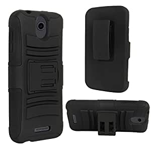 HTC 510 Case, HTC Desire 510 Holster Case, E LV HTC Desire 510 Case Cover - Dual Layer Armor Defender Protective Case Cover with Belt Swivel Clip for HTC Desire 510 - BLACK