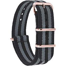 MOMENTO Bracelet de Montre Homme et Femme Zulu Nylon Tissu avec Boucle en Acier Inoxydable en Or Rose et Tissu en Gris Noir 18mm