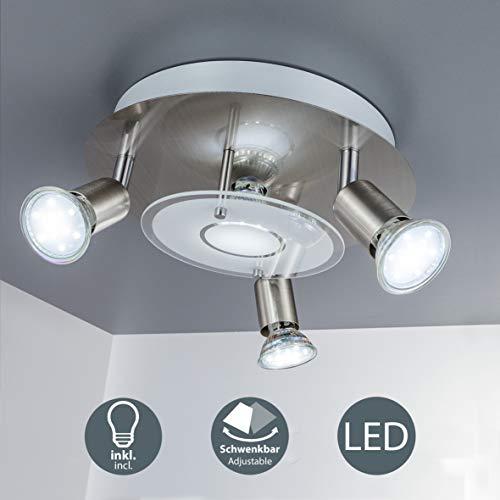 B.K.Licht - Lámpara plafón LED de forma redonda con 4 focos GU10,...