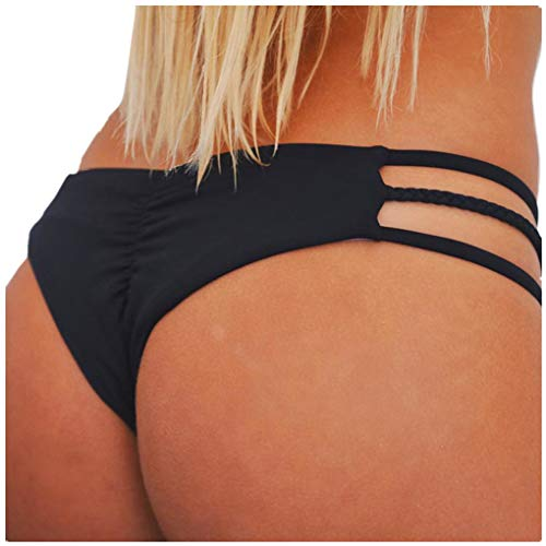 hose Bikinislip Panty Bikini-Hose Seitlich Hohl/Frauen Badehose Tanga String Rüschen Brazilian Sexy Bikini Slip Schnüren Höschen Unterwäsche Schwimmhose(Schwarz,Small) ()