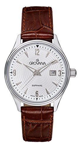 Grovana Women's Quartz Watch with Silver Dial Analogue Display and Brown Leather Strap 3191.1532