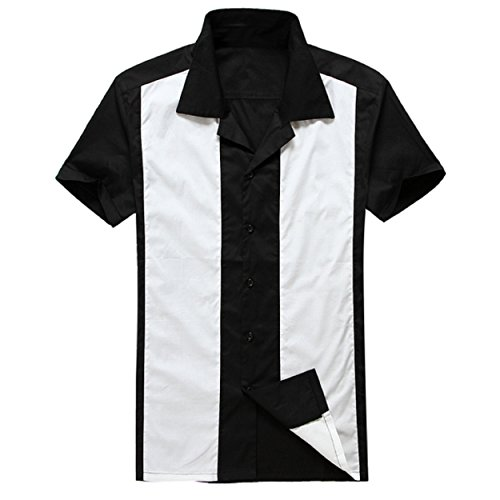 Candow Look Herren Freizeit Hemd White Panel Men's Rockabilly Shirts