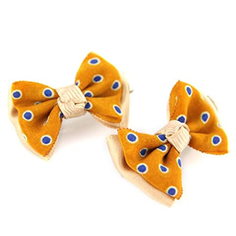 Mustard Yellow & Blue With Peach - Polka Dot Silky Satin Ribbon - Double Layered Bow - Small Gator Spring Loaded Clip - 2 Piece Set - Hair Barrette