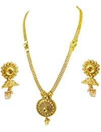 Surat Diamond Traditional Round Shaped Colored Stone And Gold Plated Necklace Earring Fashion Jewellery Set For...