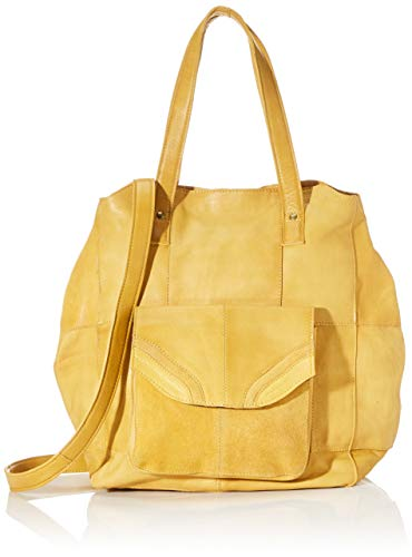 PIECES Damen Pcgro Leather Shopper Schultertasche, Gelb (Mustard Gold), 18,5x38x49 cm