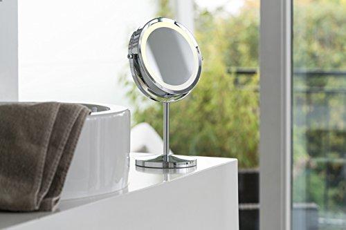 Medisana CM 840 Kosmetikspiegel mit LED Beleuchtung, normal und 5-fache Vergrößerung, 13 cm Durchmesser, 18 LEDs, verchromt - 6