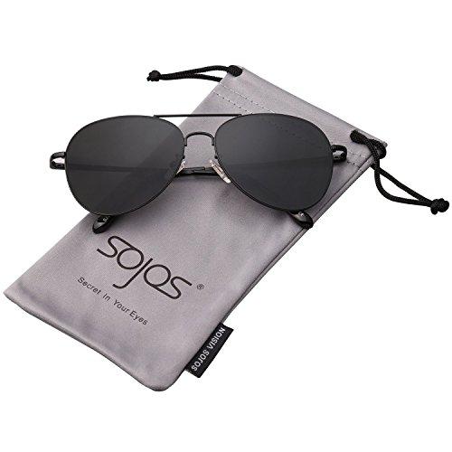 SOJOS Mode Flieger Metallrahmen Verspiegelt Linse Unisex Piloten Sonnenbrille mit Frühlings Scharnieren SJ1030 mit Schwarz Rahmen/Grau Linse