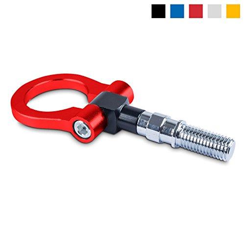 Abschleppöse Abschlepphaken aus eloxiertem Aluminium - Gewindemaße: M18, Farbe: Rot - Tow Hook für Rennsport (Strap Tow Hook)