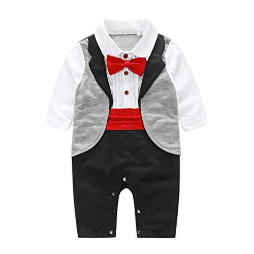 EUCoo_ Kinder Babymode, Langarm, Britischer Stil, Hahnentritt, Fliege, Gentleman, Smoking, Overall, Kunstfoto (6-24 Monate)(70) - Grau Hahnentritt Wolle