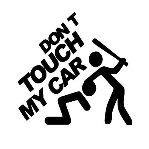 Csheng Auto Aufkleber, Don\'t Touch My Car Auto Aufkleber Motorrad Tank Computer Lustige Vinyl Rückansicht Reflektierende Einzigartige wasserdichte Motorradhelm Black