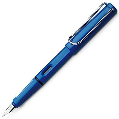 This radiant safari fountain pen in a mysterious blue is made of strong and colorful ABS plastic. This basic pen features a black chromium-plated steel nib, ink viewing window, spring-loaded brass wire clip and an ergonomically grip section for comfo...