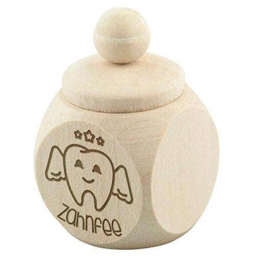 Zahndose mini Zahnfee Zahn Milchzahn Holzbox Dose Verpackung Geschenk Deko Ahorn Natur mit individueller Gravur Wunschname 30 x 50 x 30 mm