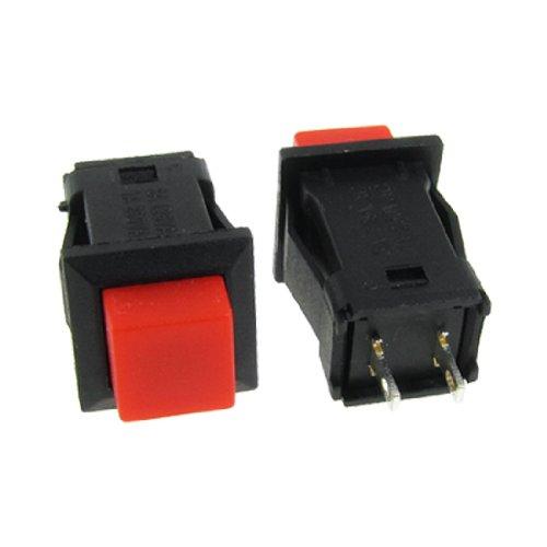sourcing map 5 Pcs 2 polig SPST rot Rastung Taster Schalter N/O keine AC-125V/3A 250V/1A -