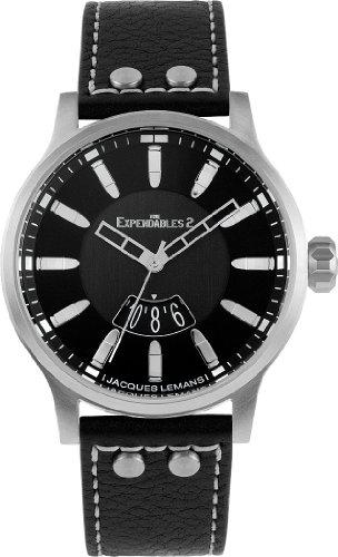 Jacques Lemans - E-222 - Montre Mixte - Quartz Analogique - Bracelet Cuir Noir