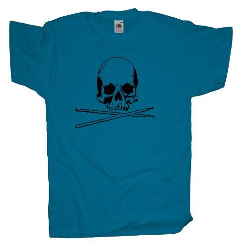 Ma2ca - Drummer Skull - T-Shirt Azure