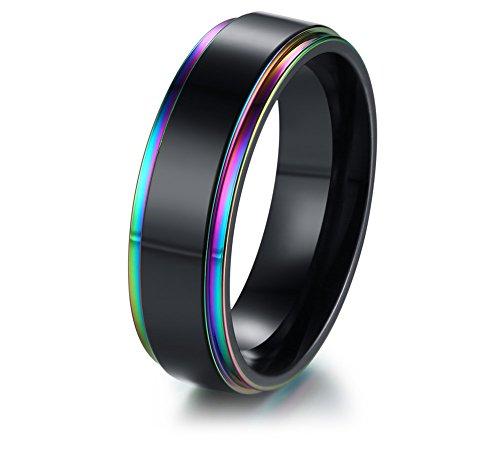 Vnox Regenbogen - Gay &Lesbian Pride Leeren Edelstahl Ring Schwarze 8mm