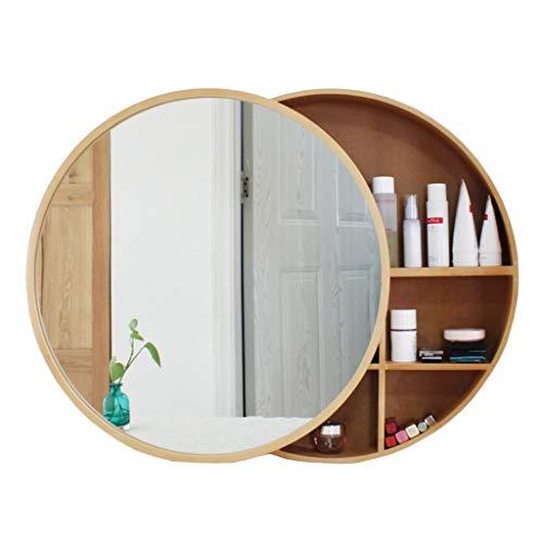 Badezimmer-eitelkeit-wand-spiegel (Xing Hua home Wand-Spiegel Bad Spiegelschrank Badezimmerspiegel mit Regal Schrank Wand-Make-up Eitelkeit runden Spiegel (Color : Wood Color, Size : 60cm))