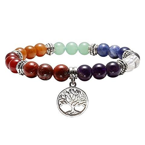QGEM 10mm Bracelet d'Energie 7 Chakras Perle Pierres Naturelle avec Petite Pendentif l'Arbre de Vie pour Femme Homme Yoga Guérison Reiki