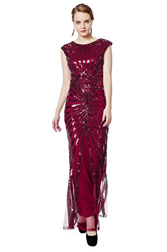 Metme Women's 1920s Vintage Prom Fringed Sequin Long Flapper Roaring Gatsby Dress For Party (XL, Wine)