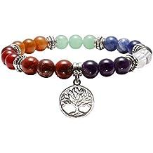 QGEM 10mm Bracelet 7 Chakras Perle Pierres Naturelle avec Petite Pendentif pour Femme Homme Yoga Méditation Equilibre