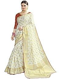 Naari Vastram Women's Cotton Silk Jacquard Blend Printed Saree With Blouse Piece (Off White N-101)