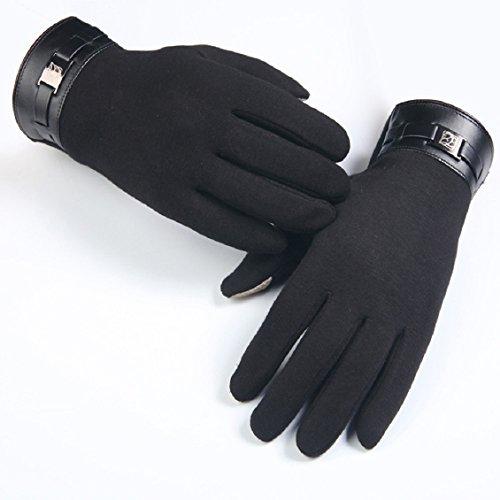 Malloom® Hommes d'hiver pleine doigts des gants tactile Smartphone en cachemire d'écran mitaines (Noir)
