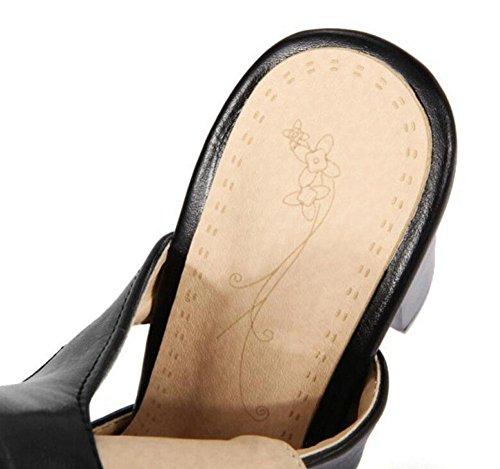 SHIXR Femmes Peep Toe Pumps Sandales à talons hauts Chaussures romaines à talons hauts Pompes sangle à la cheville Black
