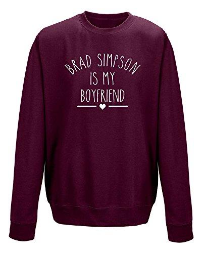 """Pullover mit Aufschrift """"Brad Simpson is My Boyfriend"""" (Aufdruck in englischer Sprache) Schwarz - Maroon"""