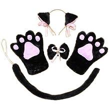 Orejas de gato! Patas! Conjunto Moe Moe Cosplay Nyanko de 4 orejas de gato patas guantes cuello Kazecho lazo de la cola (Nyanko negro) (jap?n importaci?n)