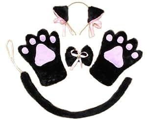 oreilles de chat! Paws! Moe Moe Nyanko Cosplay 4 pièces ensemble oreilles de chat pattes queue gants arc style col cravate (noire Nyanko)