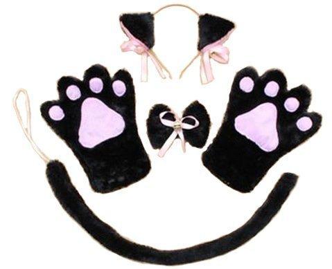 Cat Ohren! Paws! Moe Moe Cosplay Nyanko Set von 4 Katzenohren Pfoten Handschuhe Kragen Kazecho Krawatte Schwanz (schwarz Nyanko) (De Chat Kostüm Oreille)