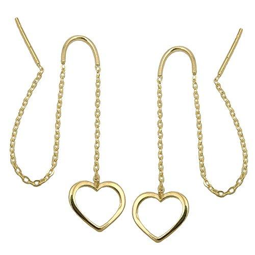 Gewinde Ohrringe 431492–Anker Kette & Herz 93mm 9CT Gold