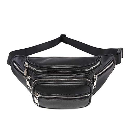 Fashion Waist Packs Damen Oval Gürteltasche Hüfttaschen für Damen Gesteppte Fanny Packs PU Leder Taille Taschen Schultertasche Crossbody Bag Schwarz Fashion Waist Packs for Black 4 Einheitsgröße -