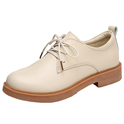 Kotzeb Chaussures Oxford Femme Faux Cuir Chaussures Derbies Chaussures Mode Bureau Travail Casual Talon 3 Cm Pompes Britannique Beige Noir Brun Rouge 35-40 Beige
