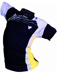 VICTOR Polo pour Homme Black 6400, noir, gris, jaune