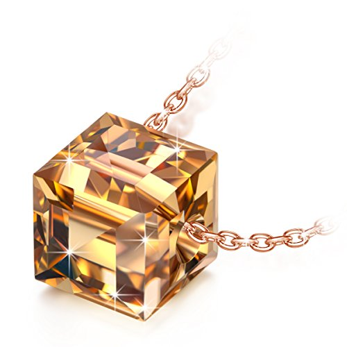 Alex Perry silver necklace for women golden crystal cube pendant necklace gifts for women valentines birthday graduation anniversary gifts for her gifts for mum jewellery for women girls gifts