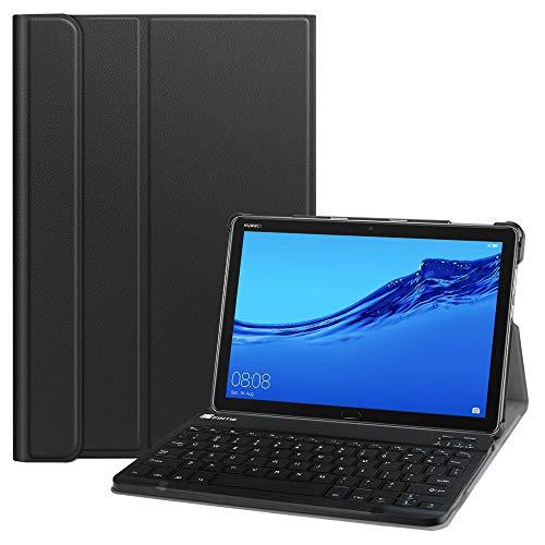 Fintie Huawei MediaPad M5 Lite 10 Bluetooth QWERTZ Tastatur Hülle - Ständer Schutzhülle mit Magnetisch Abnehmbarer Drahtloser Deutscher Bluetooth Tastatur für Huawei M5 Lite 10.1 Zoll, Schwarz