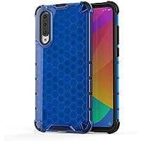 FAWUMAN Funda para Xiaomi CC9e Soft TPU + Duro PC Doble Parachoques Cubierta,Carcasa con Forma de Panal,Antideslizante,Funda Anticaída (Azul)
