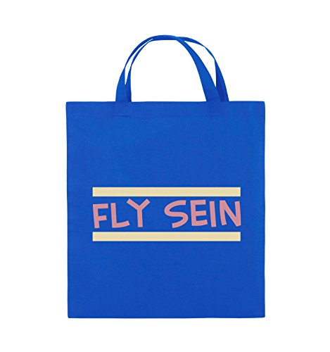 Comedy Bags - Fly sein - Jutebeutel - kurze Henkel - 38x42cm - Farbe: Schwarz / Weiss-Neongrün Royalblau / Rosa-Beige