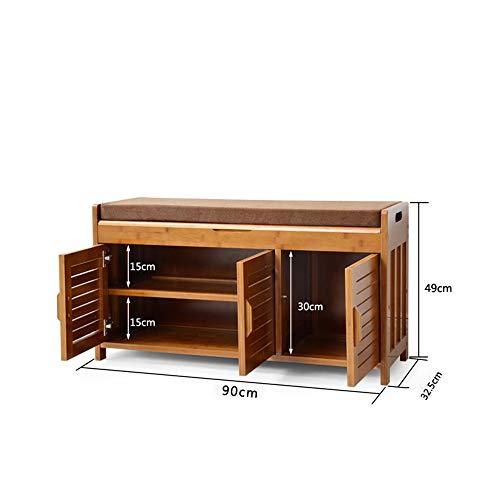 Shelves Duo Bücherregal Schuhregal Organizer 2 Tür Holz Gepolsterte Bank Schuhregal Kabinett Organizer 60 cm / 90 cm Hängeregal, (größe : 90CM) Duo-bank