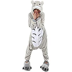 Emmarcon - Disfraz de carnaval halloween pijama cálido de animales kigurumi cosplay zoológico onesies S/altezza 149-159cm,max 60kg Totoro
